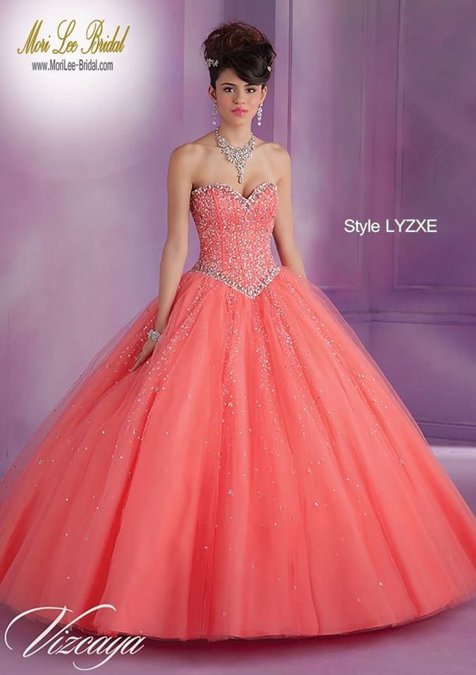 Style LYZXE Tulle Quinceanera Gown with Beading  Sweep Train. Bolero Jacket. Corset Tie Back. Colors Available: Freeze, Coral, Pink Panther, White. Sizes Available: 0-24.