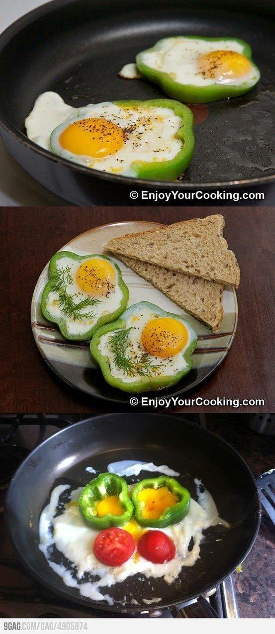 gebakken ei in paprika, soms werkt het niet zoals op het plaatje te zien ;-); op de site nog meer voorbeelden van de dingen die niet lukken.