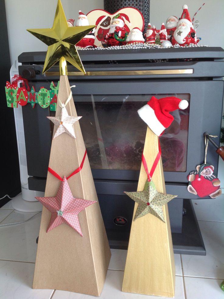 3D stars on paper mâché trees