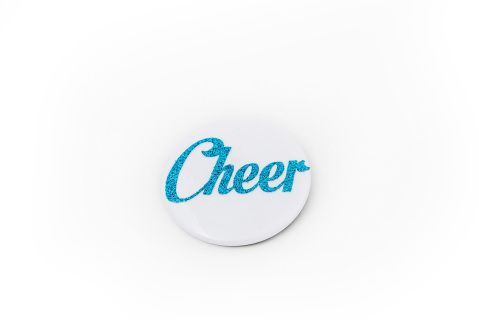 2 inch Cheer Button. Comes in 4 colours: Purple, Blue, Pink and green #Cheerific.ca #Cheer #Cheerleading #Cheermerchandise #Buttons