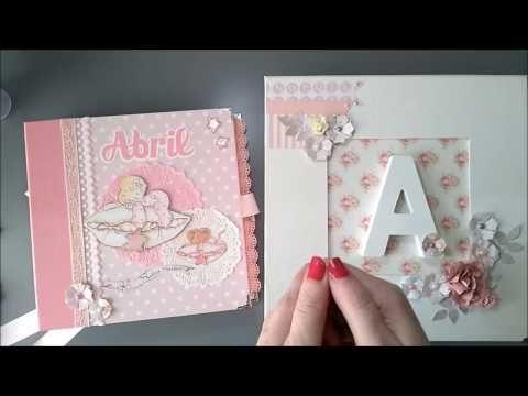 álbum bebé con caja a juego scrap scrapbooking - YouTube