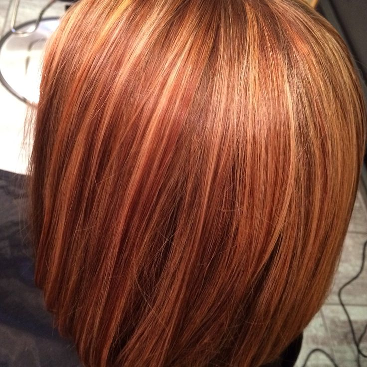 Auburn Strawberry Blonde And Brunette Lowlights On A