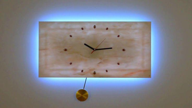 ZEGAR KINKIET z Marmuru z wahadłem LED RGB sterowany PILOTEM