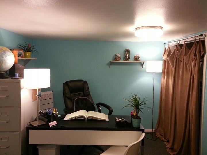 Basement home office - blacks, whites, blues, dark sand (behr paint: cloudless)