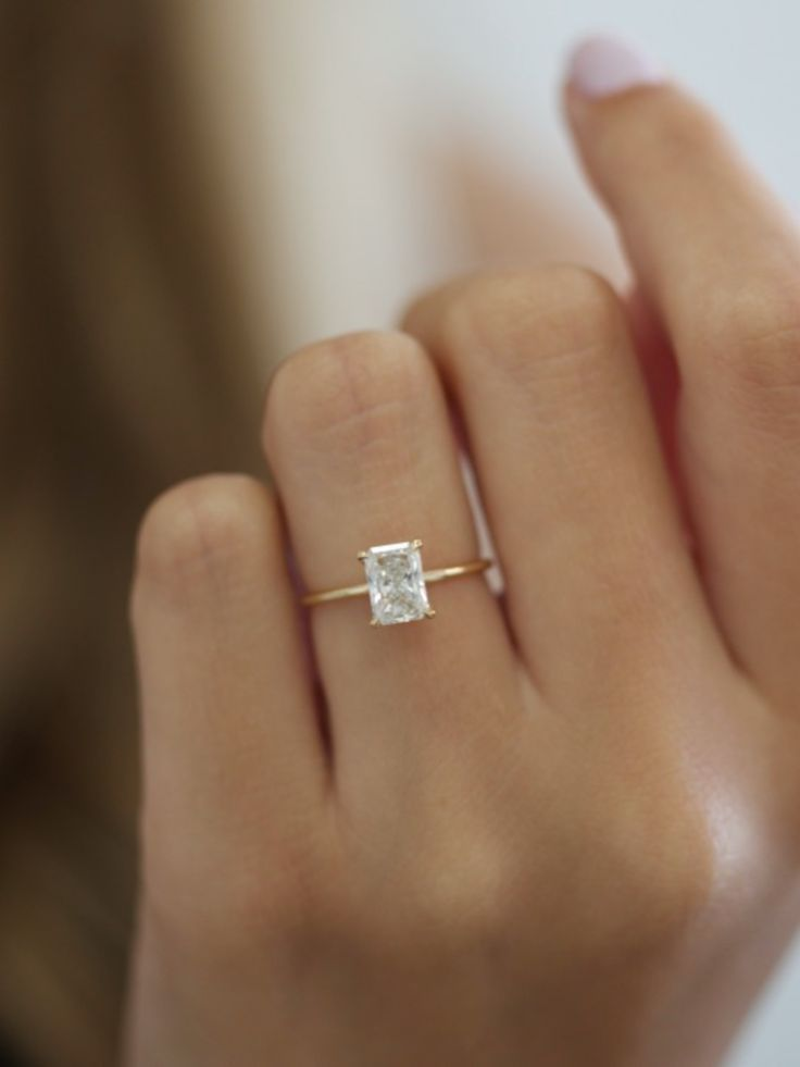 Zahara 1 Carat Radiant Diamond Nature Sparkle Beautiful Engagement Rings Gold Diamond Wedding Band Unique Engagement Rings