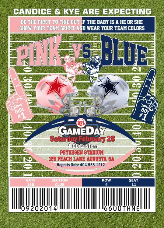 Gender Reveal Football Theme Invitation by ShopKEBCreative on Etsy