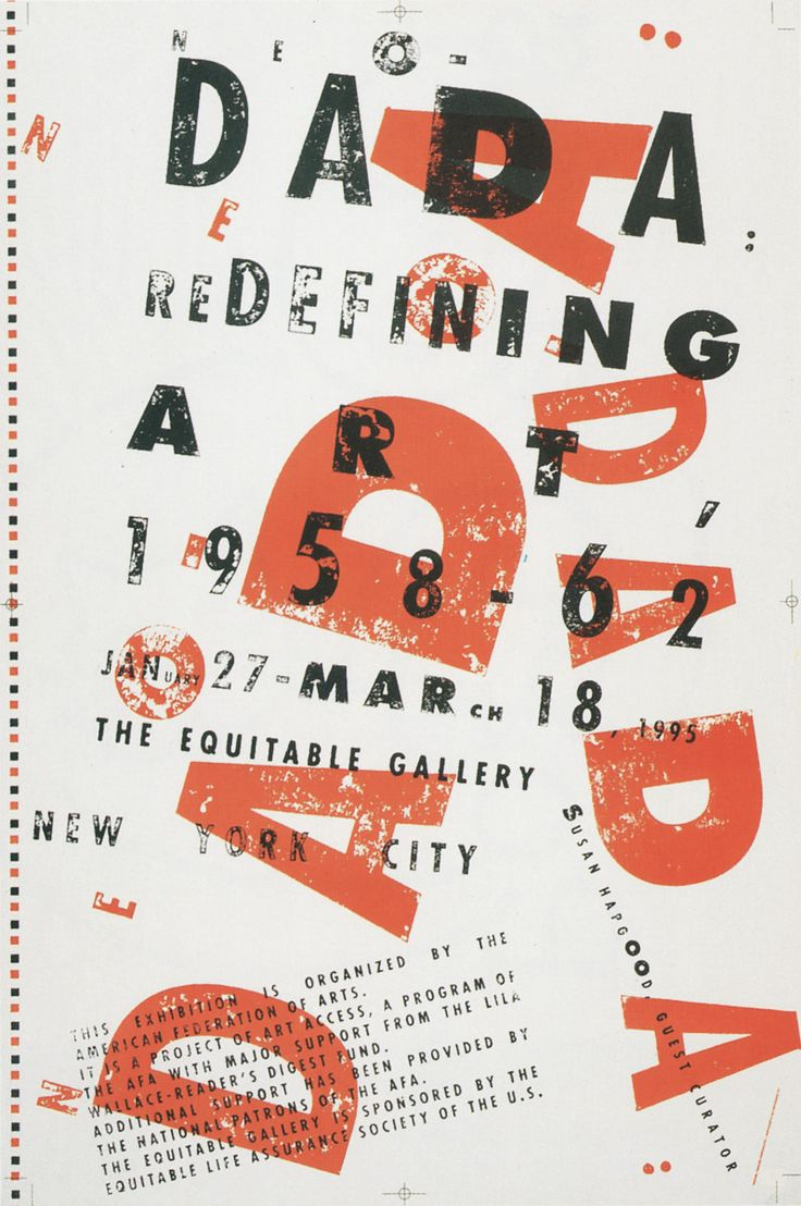Neo Dada Exhibition Poster, by Takaaki Matsumoto. Love the randomness of the type's positioning