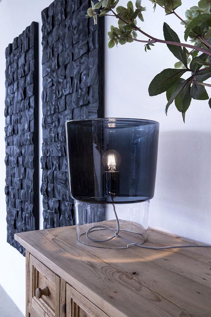 New #Vestale blown glass table lamp here displayed with a smoked grey decoration.  laluce Licht&Design Chur