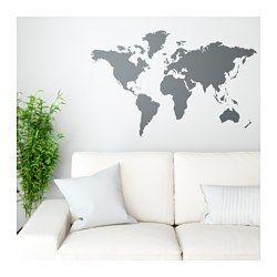 IKEA - KLÄTTA, Zelfklevende decoratie, De wereldkaart is een decoratief schilderij én een praktisch krijtbord waarop je bv. je volgende reis kan plannen.Je kan met krijtjes plaatsen op de kaart aangeven waar je geweest bent, die je mooi vindt of waar je graag naartoe zou willen.Met zelfklevende decoraties vernieuw je gemakkelijk een kamer zonder dat je hoeft te schilderen of te behangen.