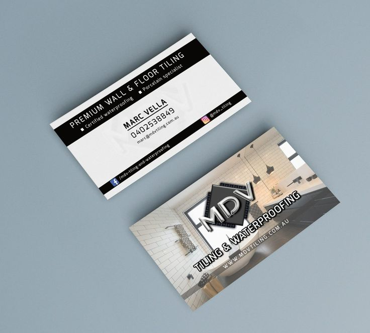 Business card design MDV Tiling & Waterproofing BY LOZ CHAI - graphic design #bylozchai #lozchaidesign #frankston #graphicdesigner #businesscards