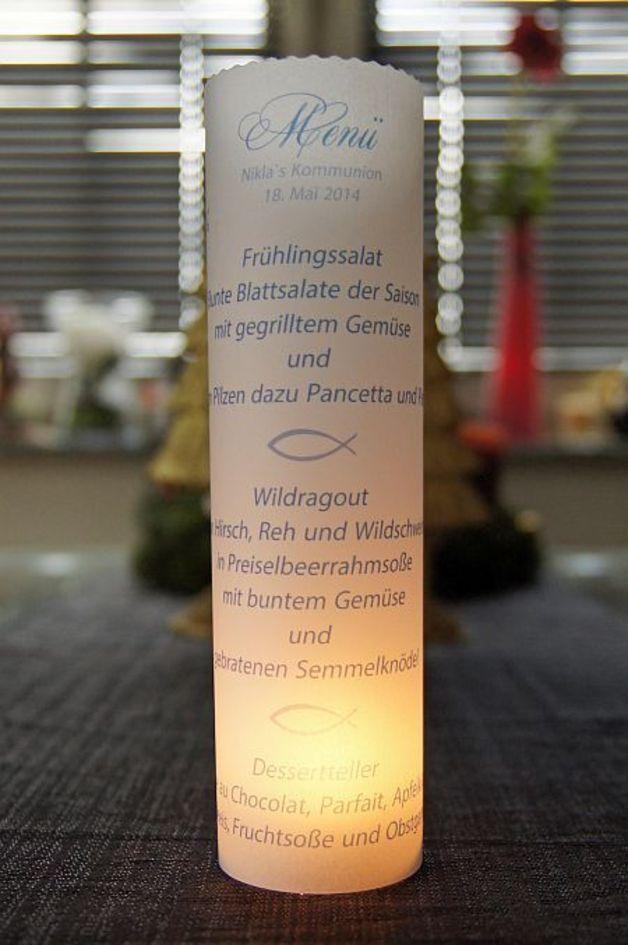 *wunderschöne Lichthülle für eure Hochzeits- Tauf oder Kommunions Tischdeko. Auch sehr schön als Gastgeschenk.  Dieses Beispiel zeigt eine Lichthülle für die Kommunion.  Ganz individuell zu...