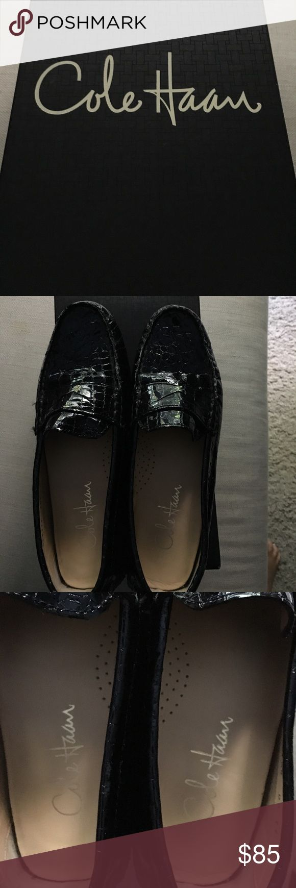 COLE HAAN LOAFERS COLE HAAN BLACK PATENT LEATHER LOAFERS.  Perfect condition.  Nike air technology.  Worn only once or twice.  In the box with bag. Penny/ Driver croc Cole Haan Shoes Flats & Loafers