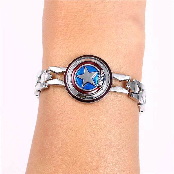 MS JEWELS Wholesale 6pcs Lot Movie Gifts The Avengers Captain America Shield Metal Bracelet  Bangle Cosplay Jewelry