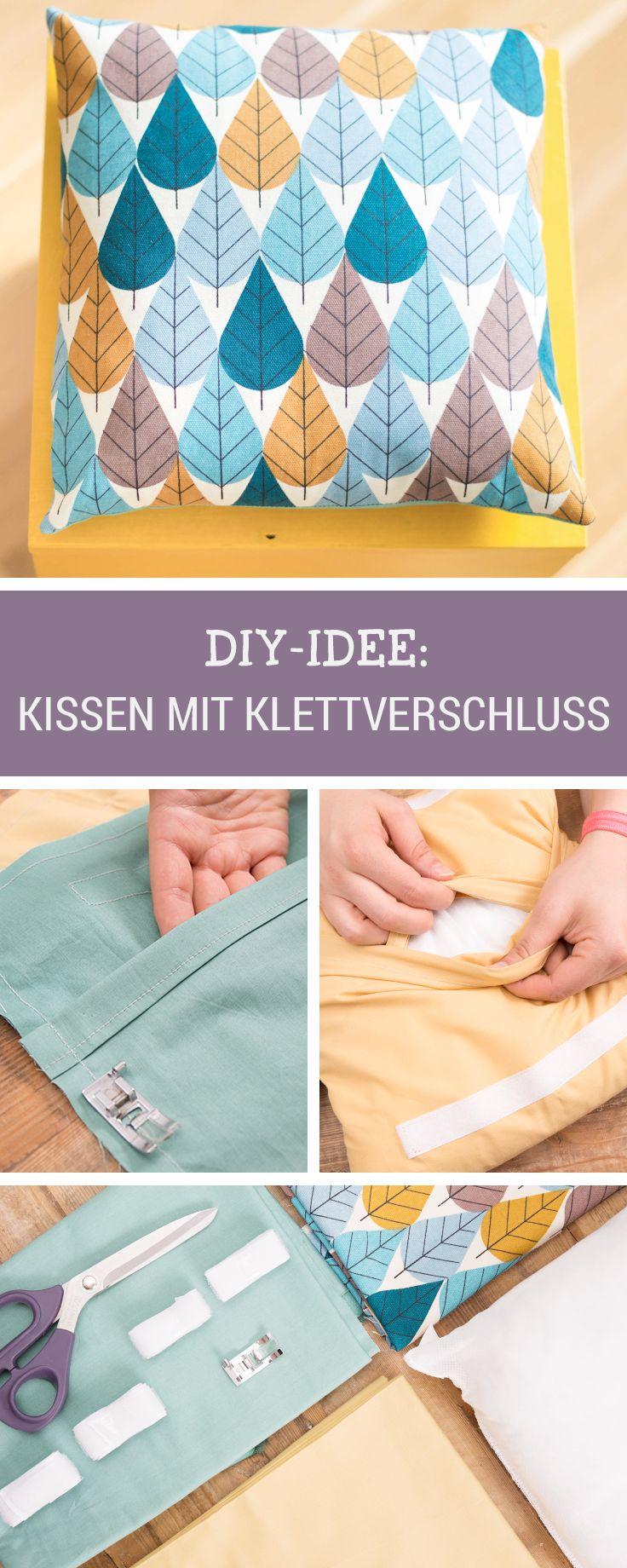 Nähanleitung: Selbstgemachtes buntes Kissen zum Kuscheln und Sitzen / sewing DIY: multicoloured pillow with practical fastener via DaWanda.com (Diy Pillows)