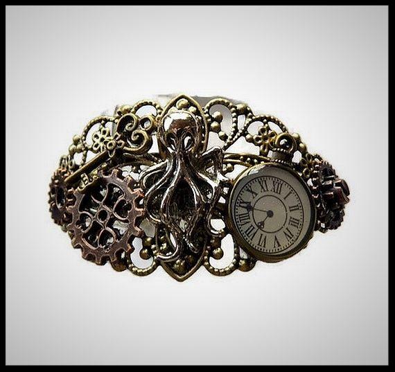 Bracelet steampunk octopus, montre manchette fait main - modèle unique - idée cadeau - anniversaire - femme - fille - bijou de créateur.