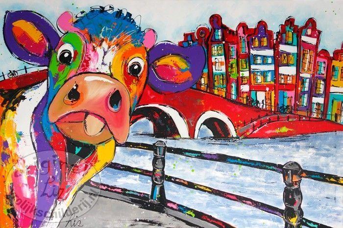 Vrolijk Schilderij Koe grachten met hek
