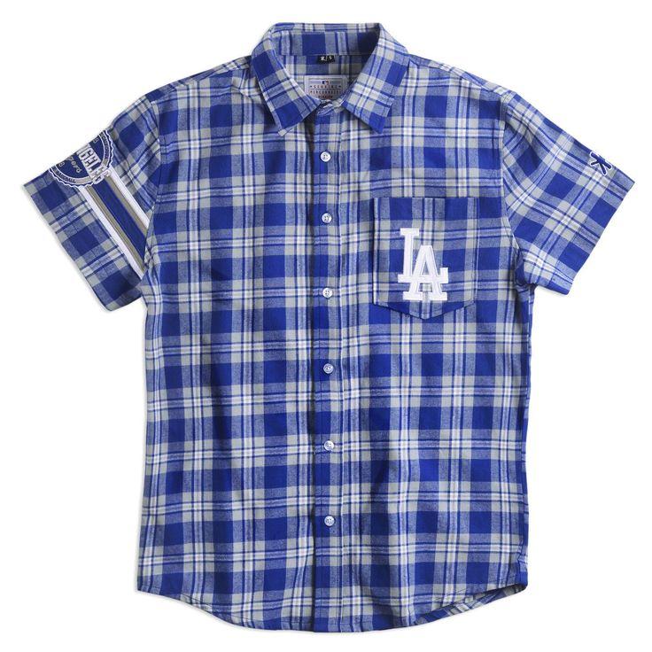 Los Angeles Dodgers Wordmark #ShortSleeve Flannel #Shirt by Klew