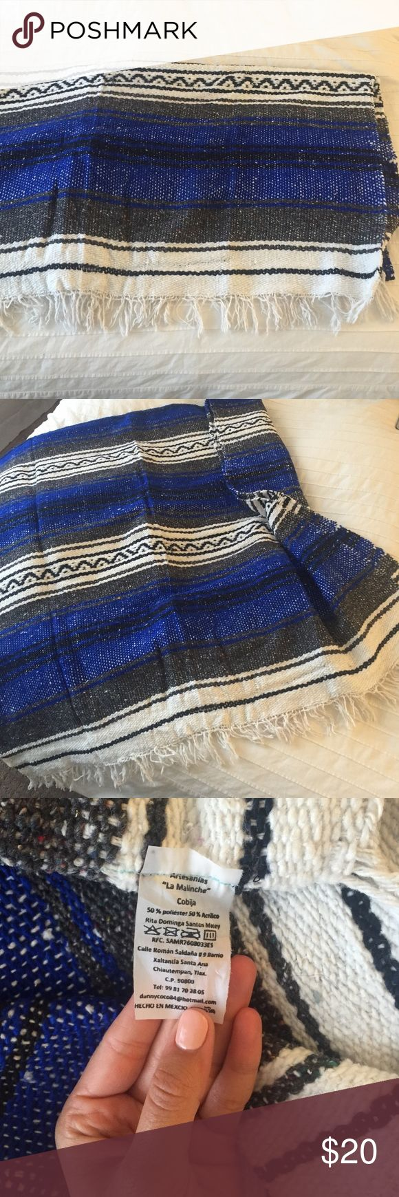 """Mexican blanket Brand new blue Mexican blanket. Around 60"""" x 38"""" love these Mexican blankets for anything, picnics, lay at the beach or to just cuddle with. Other"""