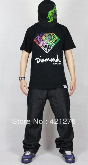 2013 New top brand names diamond supply co flash cotton for sale hip hop personalized t shirt fashion summer shirts men