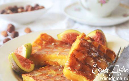 Бельгийские ореховые вафли с соусом из белого шоколада и инжиром   Кулинарные рецепты от «Едим дома!»