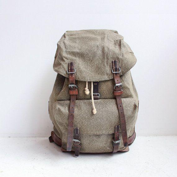 Vintage military backpack  Swiss Army  rucksack  by CaesarPony, $195.00