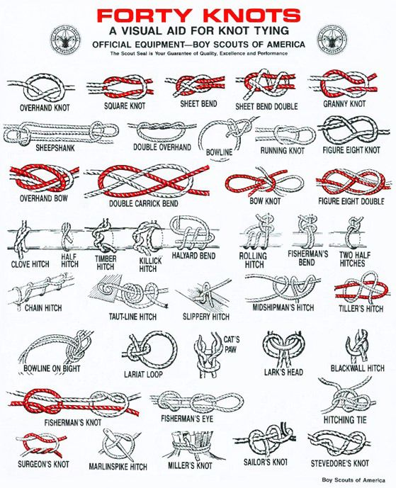 Forty Knots. a visual aid for knot tying.