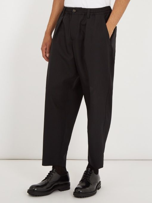 Marni Mid-rise tapered-leg wool cropped trousers