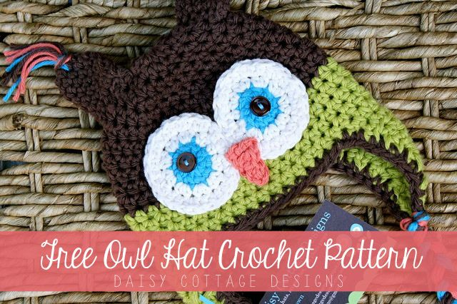 This adorable owl hat pattern is sure to bring oohs and ahs at the next baby shower you have to attend. This FREE! pattern is simple and stunning. #daisycottagedesigns #crochetidea