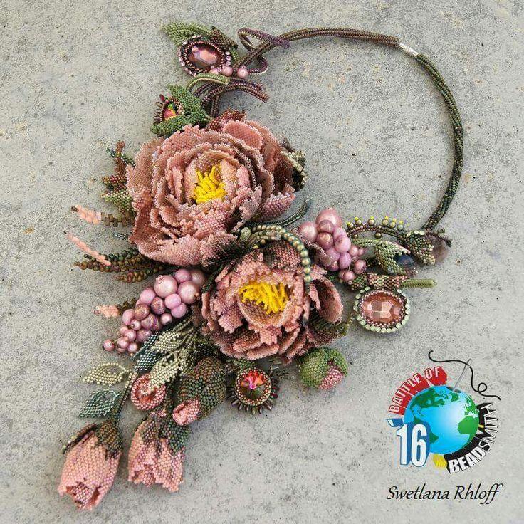 peony beaded necklace