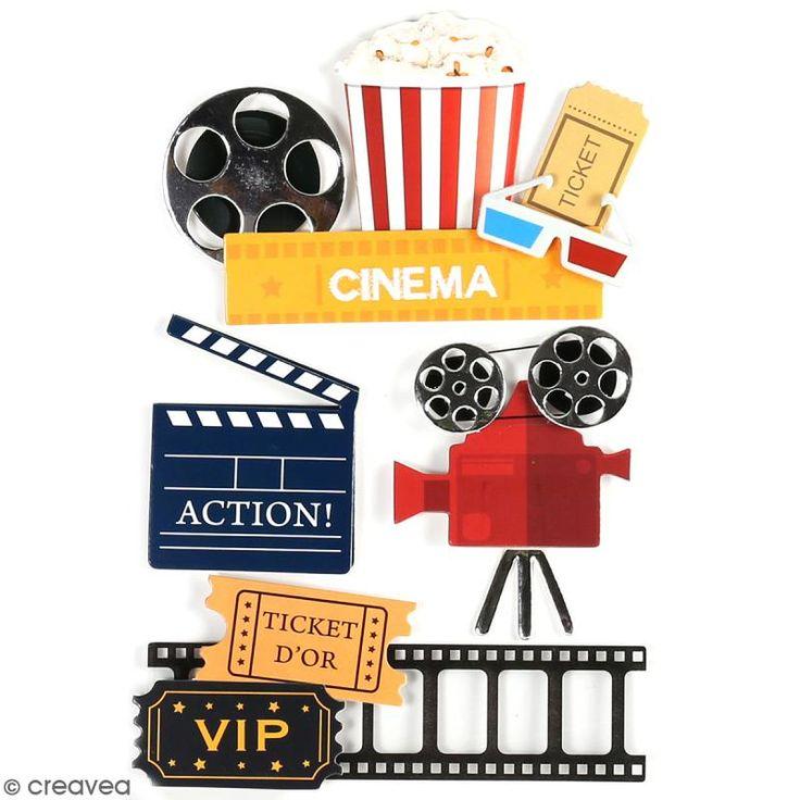 Stickers 3D Cinéma - 4 autocollants