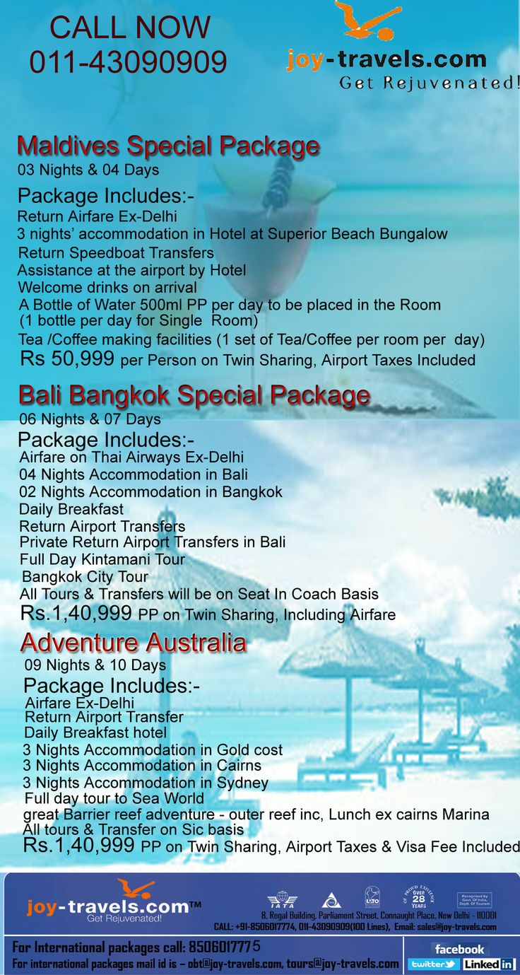 #Bali Bangkok Special Package 06 Nights & 07 Days Package Includes Airfare on Thai Airways Ex-Delhi 04 Nights Accommodation in Bali 02 Nights Accommodation in Bangkok Daily Breakfast Return Airport Transfers Private Return Airport Transfers in Bali Full Day Kintamani Tour Bangkok City Tour All Tours & Transfers will be on Seat In Coach Basis Rs. 1, 40,999 Per Person on Twin Sharing, Including Airfare