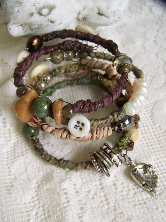 Handmade Gypsy Bangle Bracelet Stack Wire Wrapped Boho by QueenBe, $44.00