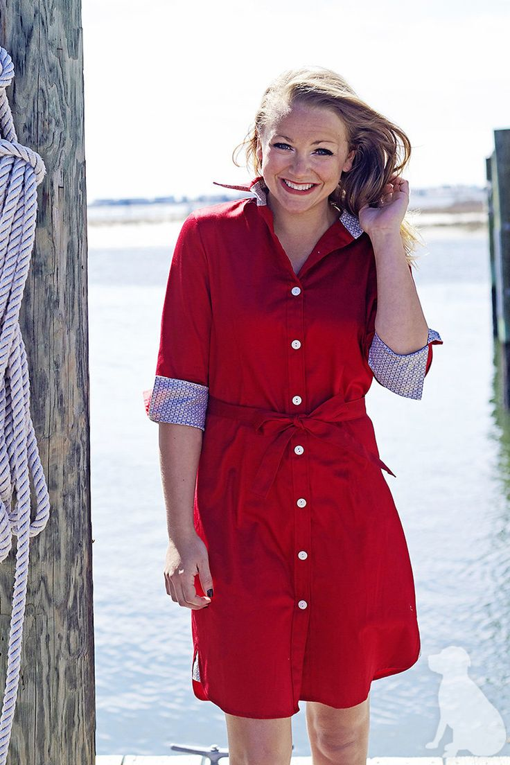 Madeline Dress in Red with Khaki Bits