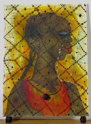 """Chris Ofili, """"No Woman, No Cry""""  1998"""