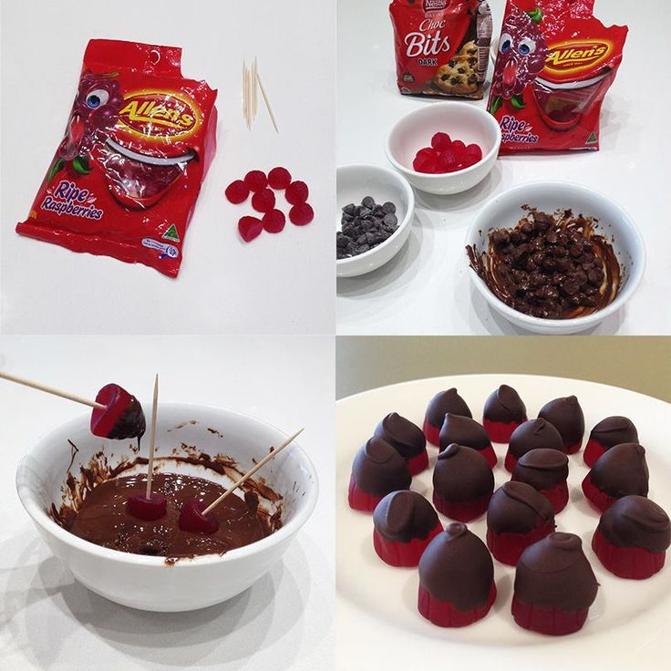 Delicious ALLEN'S Ripe Raspberries dipped in melted Choc Bits. So easy to make!