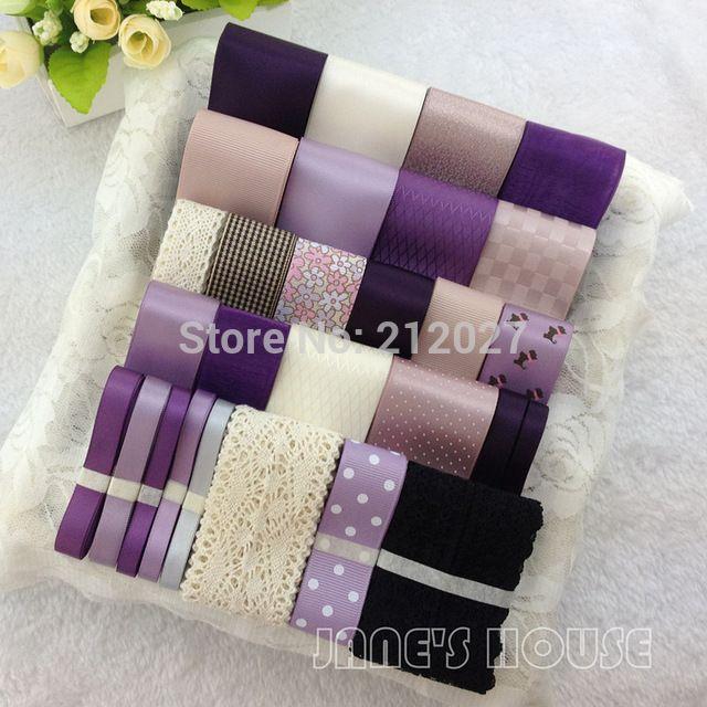 Фиолетовый цвет 28YDS смешанный 28 стиль атлас / корсажная лента лента комикс ленты комплект хлопок кружево лента своими руками аксессуары для волос