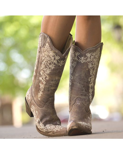 Corral Women's Brown Crater Bone Embroidery Boot - A1094  Dream wedding boots!