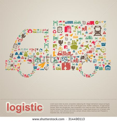 Logistic distribution supplier and transportation delivery infographic template layout design background icon in truck shape banner page for website or brochure, create by vector