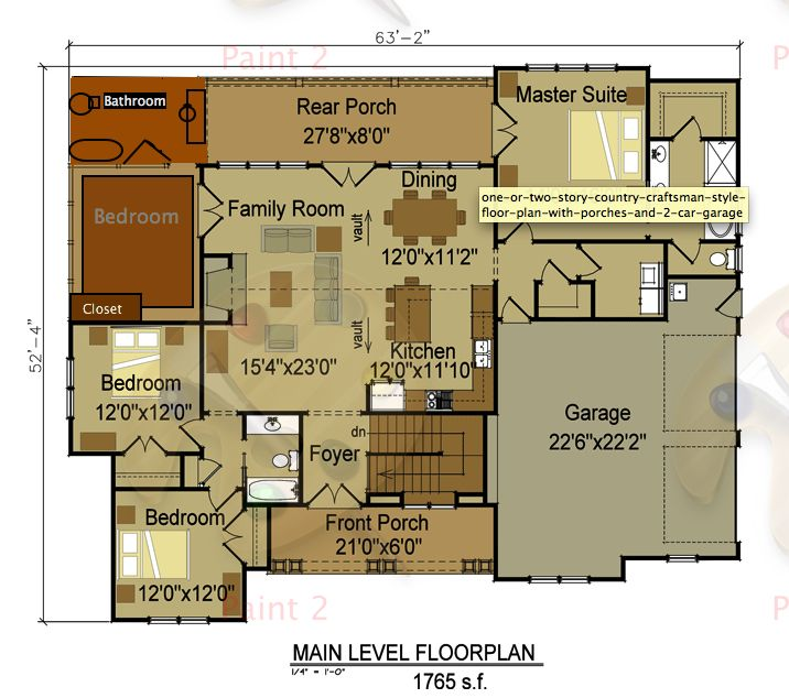 attractive one story craftsman style house plans #4: one-or-two-story-country-craftsman-style-floor-plan- I Max Fulbright Designs .
