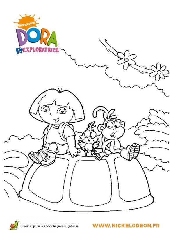 Coloriage de Dora, de Babouche et de l'Oisillon