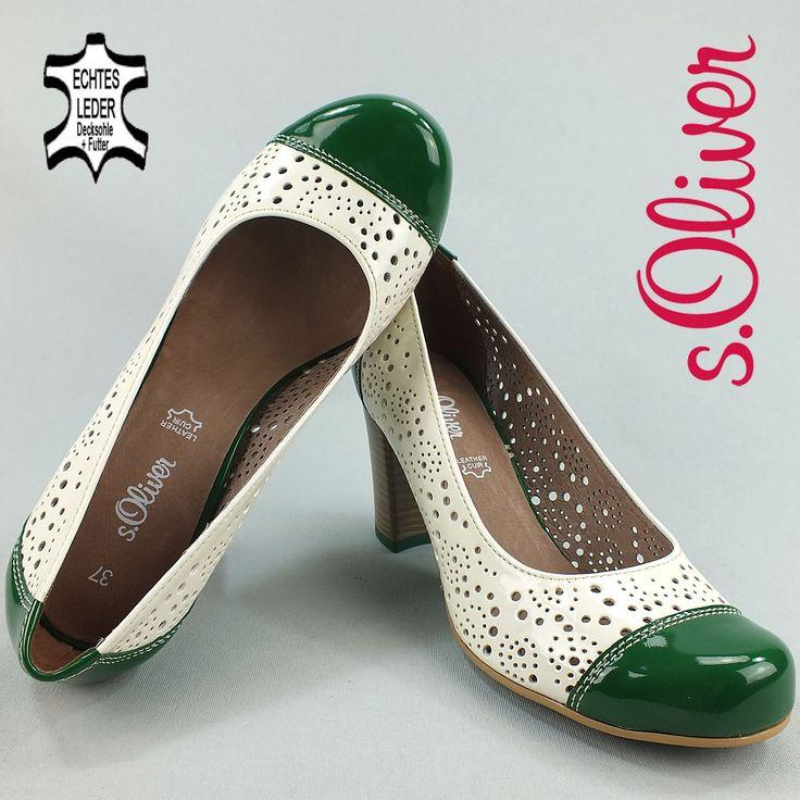 DPM776 s.OLIVER Damen Pumps Leder Lackoptik Lochmuster weiss-grün NEU Schuhe in Kleidung & Accessoires, Damenschuhe, Pumps   eBay