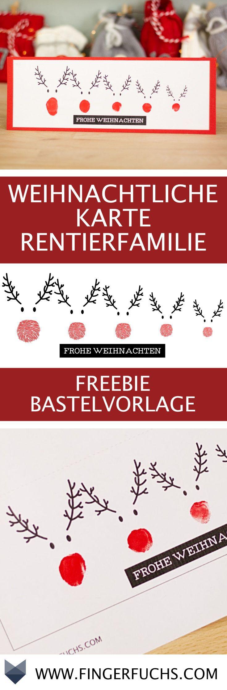 DIY Karte Rentierfamilie – Kostenlose Bastelvorlage mit Fingerabdruck – Angelika Stech