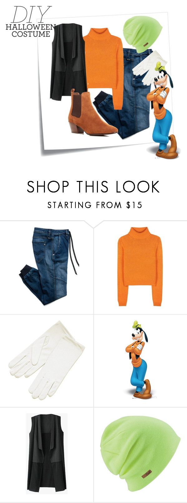 """DIY Halloween Costumes: Goofy"" by hideous ❤ liked on Polyvore featuring Post-It, Replay, Acne Studios, Coal, Sam Edelman, disney, goofy, halloweencostume and DIYHalloween"