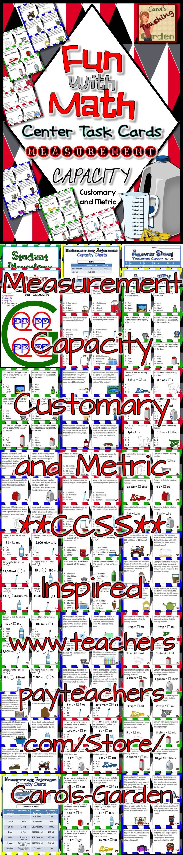 #CCSS Inspired: 108 #measurement #capacity #customary and #metric #TaskCards, including 18 each for low, medium, and high students for standards taught, including: estimating the customary or metric capacity of various items, converting from one customary or metric measurement to another, converting from customary to metric and from metric to customary measurement, Student and Teacher directions, Conversion charts for metric, customary, metric to customary, and customary to metric, Answer…