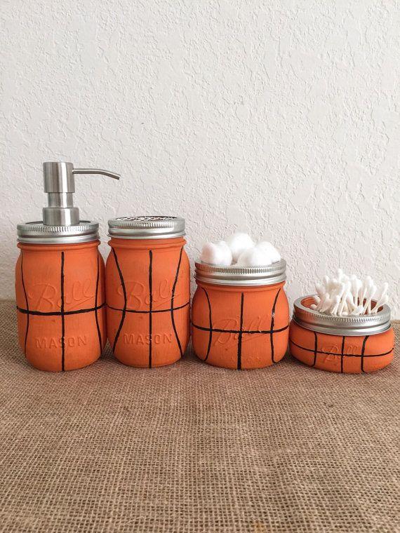Basketball Mason Jar Bathroom Set  Gift for Him by BUtifulDesigns
