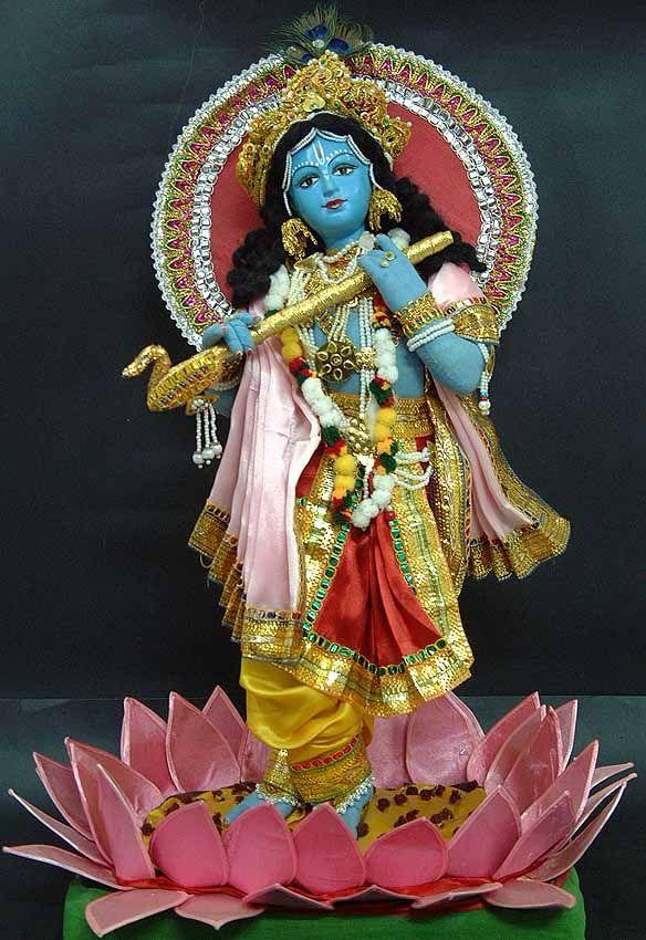 Sri krishna hand made doll on lotus