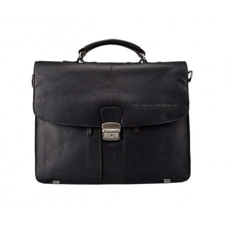 Køb denne flotte The Chesterfield brand skindmappe i sort