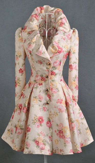 Floral print trench coat