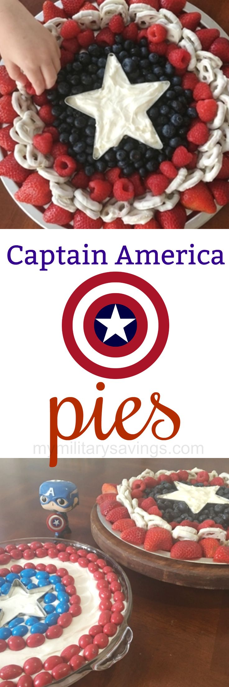 2 delicious Captain America inspired super hero pie recipes! Add this to your dessert recipes board!