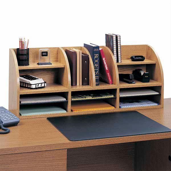 12 Compartment Wood Desktop Organizer